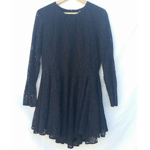 H&M Black Lace Fit & Flare Dress Long Sleeve  12